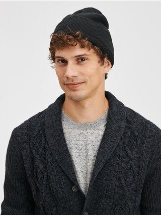 Černá pánská čepice Jednobarevná pletená čepice GAP