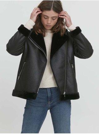Koženkové, kožené bundy pre ženy ICHI - čierna