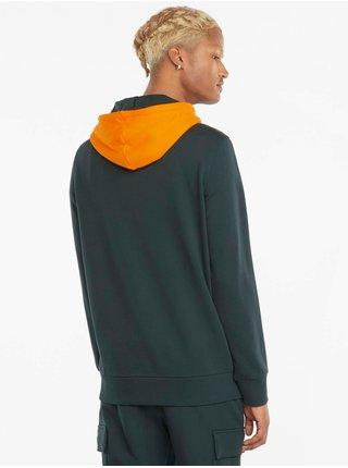 Oranžovo-zelená pánska mikina s kapucou Puma CLSX Piped Hoodie TR