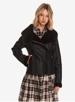 Čierna dámska koženková bunda s umelým kožúškom TOP SECRET