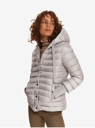 Světle šedá dámská prošívaná zimní bunda s kapucí TOP SECRET