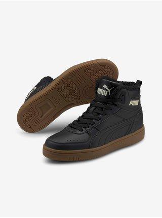 Hnědo-černé pánské boty Puma Rebound JOY Fur