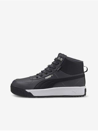 Čierno-šedé pánske kožené členkové topánky Puma Tarrenz SB Puretex