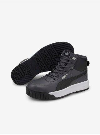 Černo-šedé pánské kožené kotníkové boty Puma Tarrenz SB Puretex