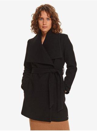 Černý dámský lehký kabát se širokým límcem TOP SECRET
