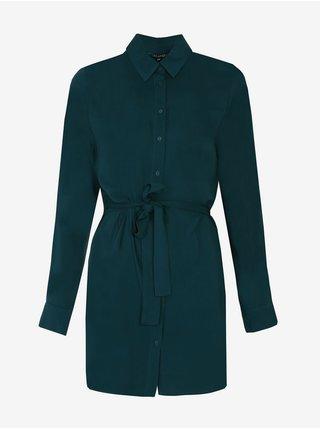 Petrolejové dámské krátké košilové šaty TOP SECRET