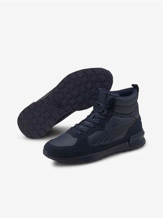 Tmavomodré pánske členkové topánky v semišovej úprave Puma Graviton Mid