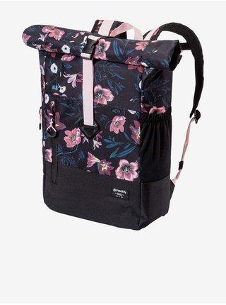 Růžovo-černý dámský květovaný batoh Meatfly Holler