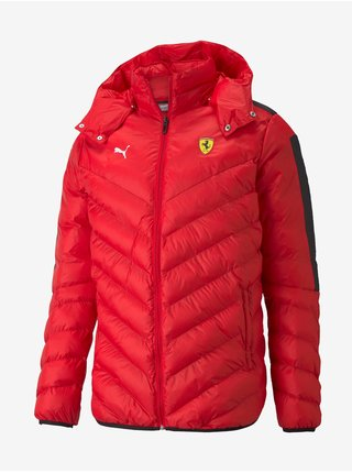 Červená pánská prošívaná bunda Puma Ferrari Race T7 EcoLite Down Jacket