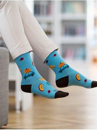 Hnědo-modré dámské ponožky s motivem Fusakle Výlet