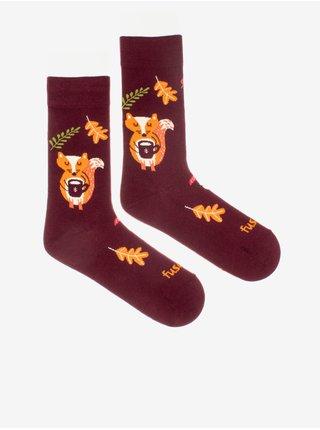 Vínové dámské ponožky s motivem Fusakle Liškopauza