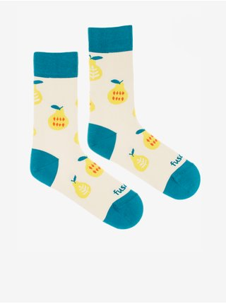 Modro-béžové dámské ponožky s motivem Fusakle Dobrá úroda
