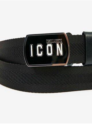 Černý pánský pásek s mosaznou sponou DSQUARED2