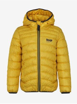 Žlutá klučičí prošívaná zimní bunda s kapucí LOAP