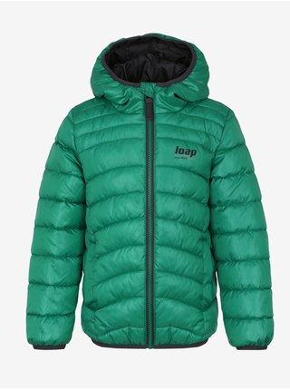 Zelená klučičí prošívaná zimní bunda s kapucí LOAP