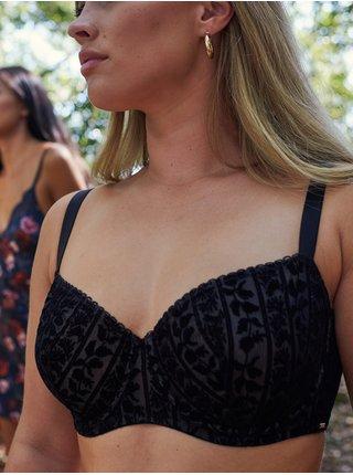 Černá květovaná podprsenka DORINA Vine