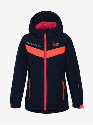 Oranžovo-modrá chlapčenská zimná bunda s kapucou LOAP
