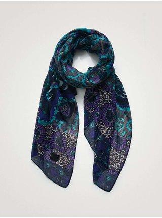 Modrý dámský vzorovaný šátek Desigual Winter Song Rectangle