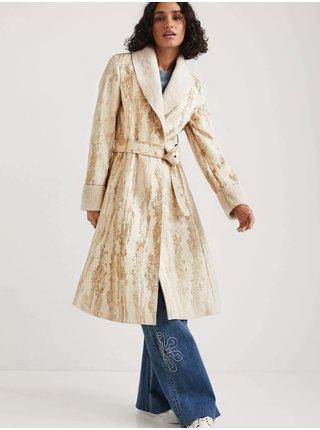 Béžový dámsky vzorovaný ľahký kabát Desigual Marvelous