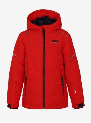 Červená chlapčenská zimná bunda s kapucou LOAP