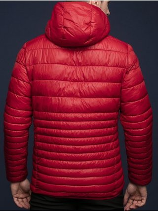 Červená pánská prošívaná zimní bunda s kapucí LOAP