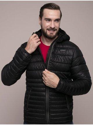 Černá pánská prošívaná zimní bunda s kapucí LOAP