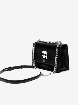 Čierna kožená crossbody kabelka KARL LAGERFELD