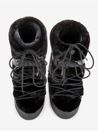 Čierne dámske snehule s umelým kožúškom Moon Boot Icon Faux