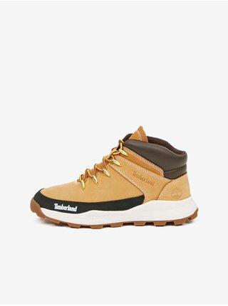 Svetlohnedé chlapčenské členkové kožené topánky Timberland Brooklyn Euro Sprint