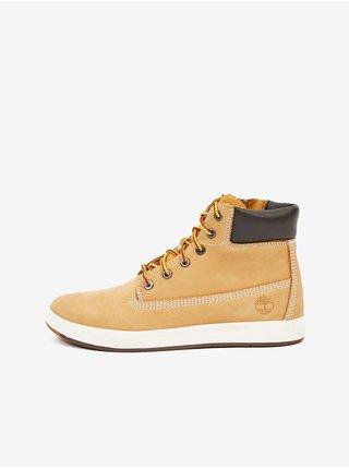 Světle hnědé klučičí kotníkové kožené boty Timberland Davis Square 6 Inch