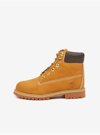 Žlté dievčenské členkové kožené topánky Timberland 6 In Premium WP Boot