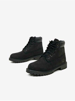 Černé klučičí kotníkové kožené boty Timberland 6 In Premium WP Boot