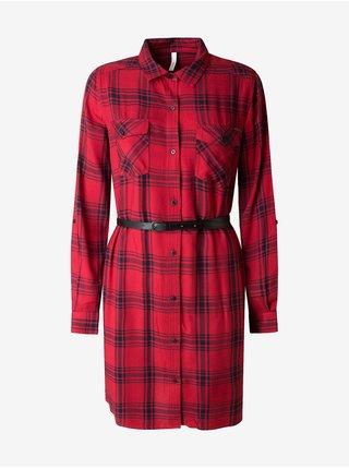 Červené dámské kostkované košilové šaty s páskem Pepe Jeans Tere