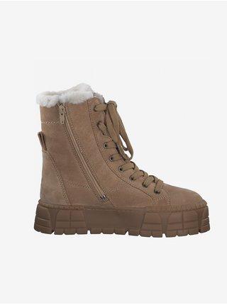Světle hnědé semišové kotníkové zimní boty Tamaris