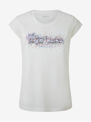 Bílé dámské tričko s flitry Pepe Jeans Berenice