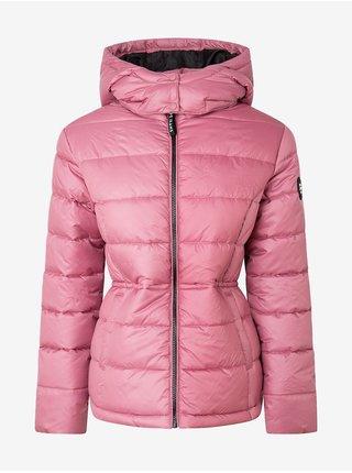 Růžová dámská prošívaná bunda s kapucí Pepe Jeans Camille