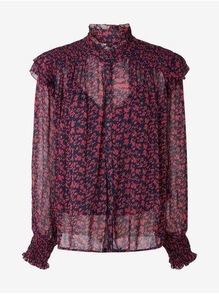 Tmavě modro-červená květovaná halenka Pepe Jeans Edith