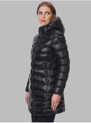 Zeleno-černá dámská prošívaná prodloužená zimní bunda s kapucí Blauer