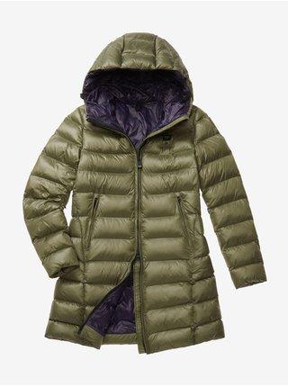 Fialovo-zelená dámská prošívaná prodloužená zimní bunda s kapucí Blauer