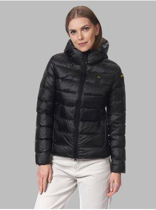 Šedo-černá dámská prošívaná zimní bunda s kapucí Blauer