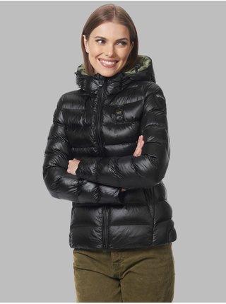 Zeleno-černá dámská prošívaná zimní bunda s kapucí Blauer