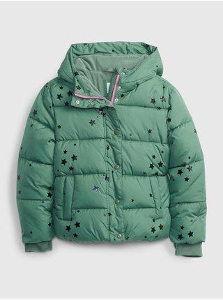 Zelená holčičí bunda prošívaná zimní GAP