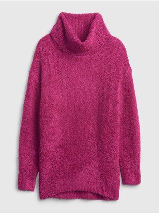 Růžový dámský svetr Pletený s rolákem GAP