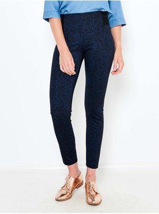 Tmavomodré vzorované skinny fit nohavice CAMAIEU