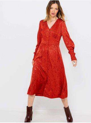 Červené vzorované saténové šaty CAMAIEU