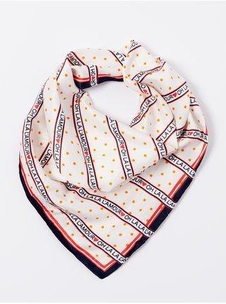 Oranžovo-krémový vzorovaný šátek CAMAIEU