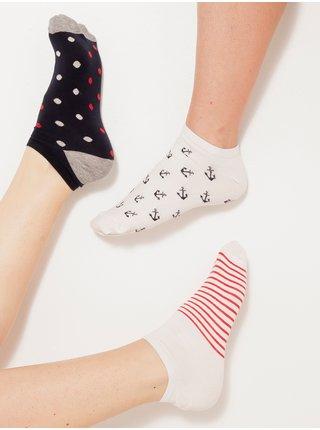 Sada troch párov vzorovaných ponožiek v čiernej a bielej farbe CAMAIEU