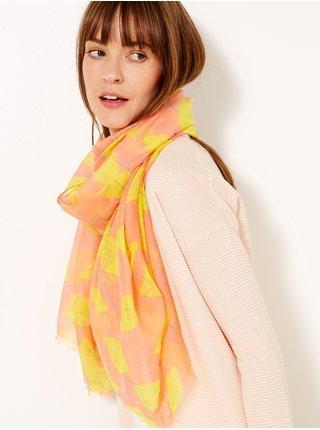 Žluto-růžová vzorovaná šála CAMAIEU