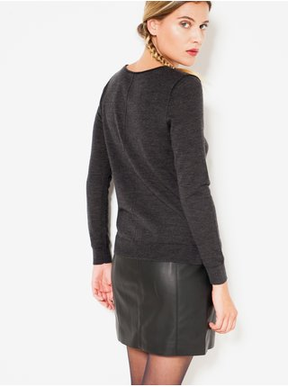 Tmavošedý vlnený ľahký sveter CAMAIEU