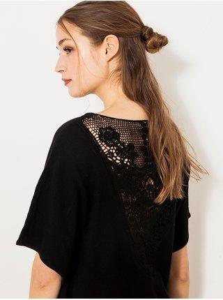 Černý lehký svetr s krajkou a netopýřími rukávy CAMAIEU
